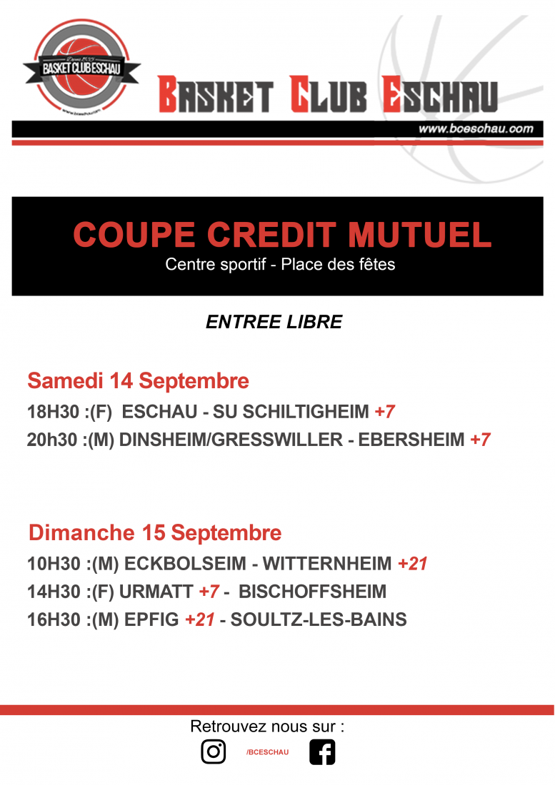 14 & 15 SEPTEMBRE : COUPE CREDIT MUTUEL